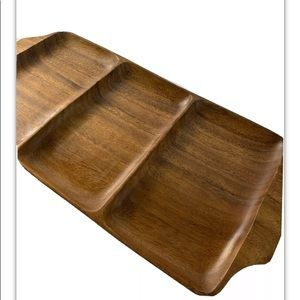 Monkeypod wood large partition tray bowl 7567